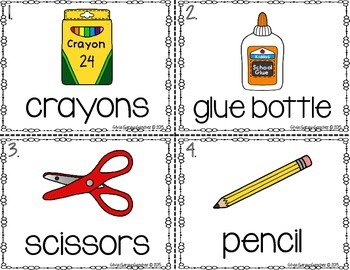 School Supplies Read and Write the Room Center