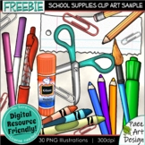 School Supplies Clip Art | Sample FREEBIE | Movable Images