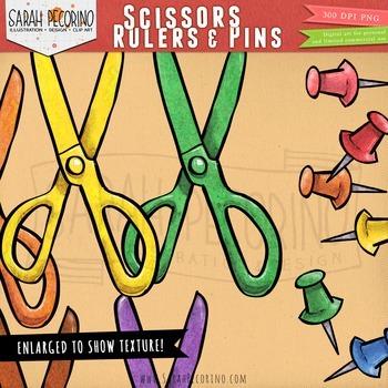 Scissors, Rulers and Push Pins Clip Art
