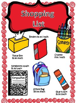 School Supplies Shopping Spree MATH REVIEW {Beginning Of the Year} NO PREP