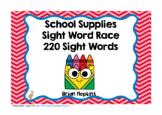 School Supplies Sight Word Race