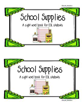 School Supplies Sight word book