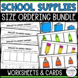School Supplies Size Ordering Activties