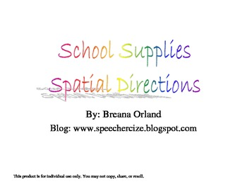 School Supplies Spatial Directions