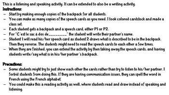 School Supplies Speaking Activity