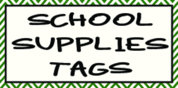 School Supplies Tags