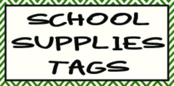 School Supplies Tags