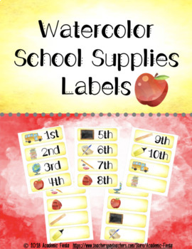 School Supplies Themed Labels
