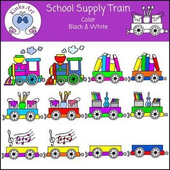 School Supplies Train Clip Art
