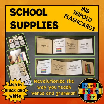 Spanish School Supplies Interactive Notebook Trifold Flashcards