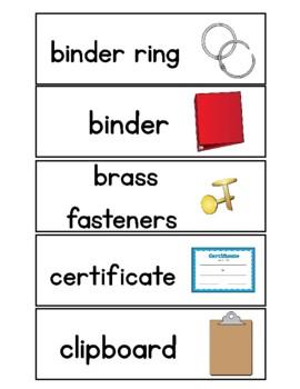 School Supplies Vocabulary Cards