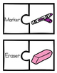 School Supplies Vocabulary Match-Ups (puzzles)