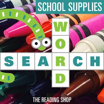 School Supplies Word Search - Primary Grades - Wordsearch Puzzle