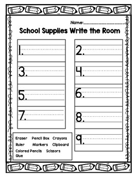 School Supplies Write the Room & Emergent Reader- English
