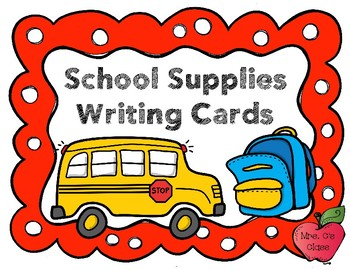 School Supplies Writing Cards