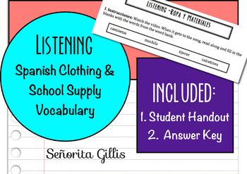 School Supplies and Clothing Spanish Listening Activity