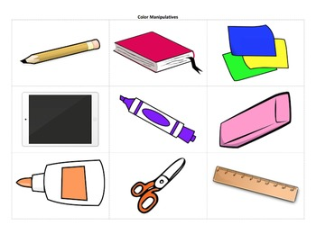 School Supplies and Colors Unit - lessons, worksheets, clipart, and more