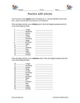 School Supplies, classes, and Definite/Indefinite Article Practice