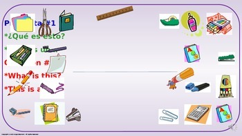 School Supplies. Power Point Presentation with audio.