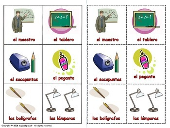 School Supplies in Spanish. Lottery (Board Game)
