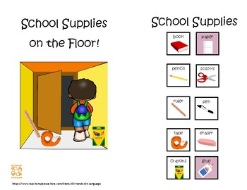 School Supplies on the Floor! Interactive Mini-Book