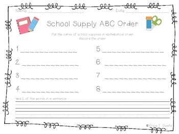School Supply ABC Order