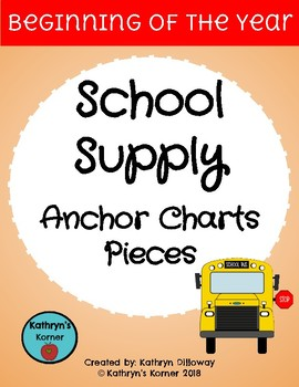 School Supply Anchor Chart Pieces
