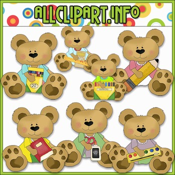 School Supply Bears Clip Art - Cheryl Seslar Clip Art