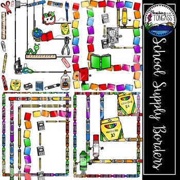 School Supply Border Frames Clipart (School Clipart)