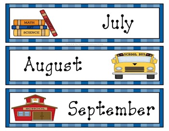 School Supplies Calendar Set