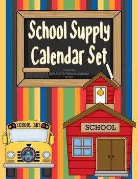School Supplies Calendar Set
