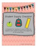School Supply Checklist