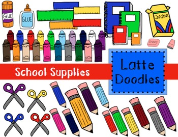 School Supply Clip Art {Commercial Use Included}