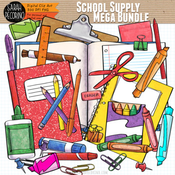 School Supply Clip Art Mega Bundle