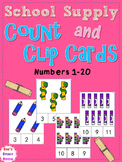 School Supply Count and Clip Cards: Numbers 1-20