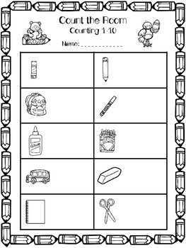 School Supply Count the Room- Counting Objects 1-10