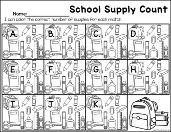 School Supply - Counting Practice
