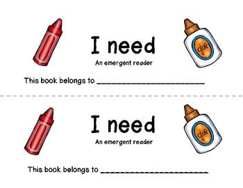 School Supply Emergent Reader