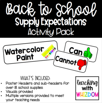 School Supply Expectations Anchor Chart Pack