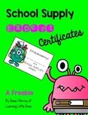 School Supply Expert Certificates FREEBIE