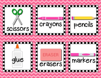 School Supply & Journal Labels (Checkies & Chevron Pattern)