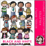 School Supply Kidlettes clip art - BLACK AND WHITE- by Melonheadz