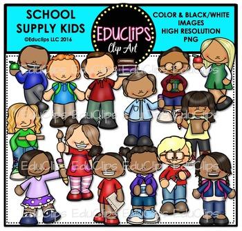 School Supply Kids Clip Art Bundle