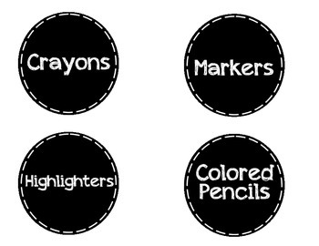 School Supply Labels (Black and White)