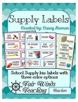 School Supply Labels