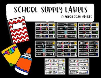 School Supply Labels | Back to School | Class Organization
