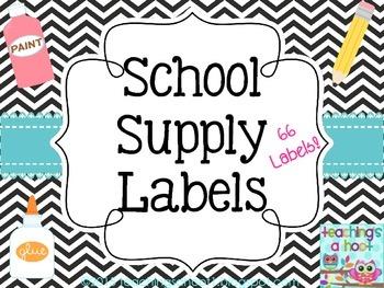 School Supply Labels - Black & White Chevron