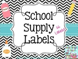 School Supply Labels - Black & White Chevron
