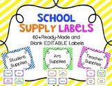 School Supply Labels {Bright Stripes} *EDITABLE*