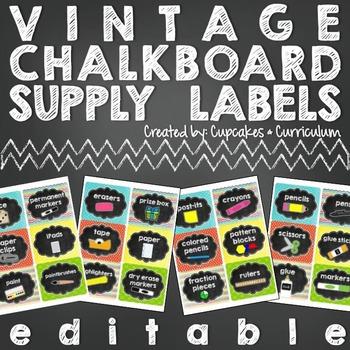 School Supply Labels: Vintage Chalkboard